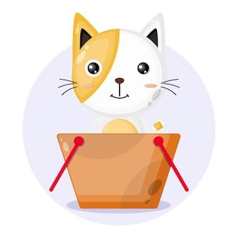 Logo de personnage mignon de panier d'achat de chat