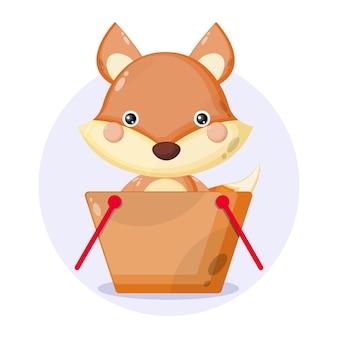Logo de personnage mignon de panier d'achat de renard