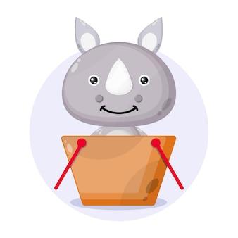 Logo de personnage mignon de panier d'achat de rhinocéros
