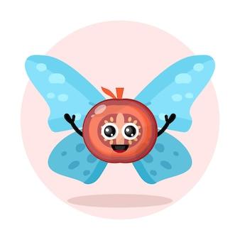 Logo de personnage mignon papillon tomate