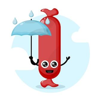 Logo de personnage mignon parapluie saucisse