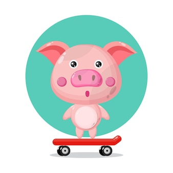 Logo de personnage mignon de planche à roulettes de porc