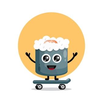 Logo de personnage mignon de planche à roulettes de sushi