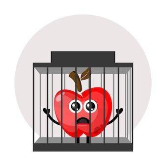 Logo de personnage mignon de pomme de prison