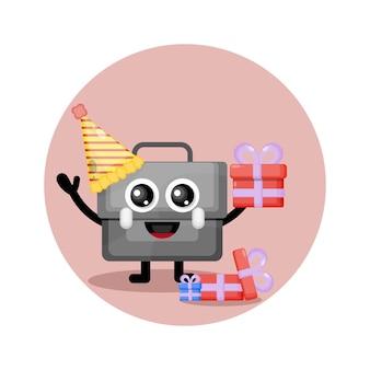 Logo de personnage mignon porte-documents d'anniversaire