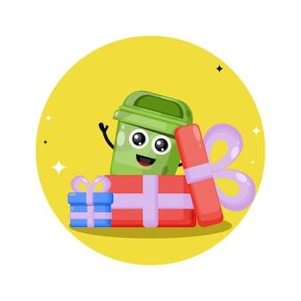 Logo de personnage mignon poubelle boîte cadeau