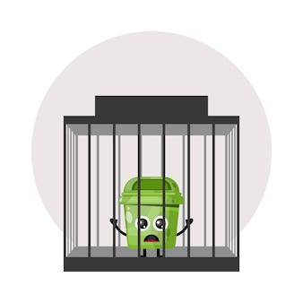 Logo de personnage mignon poubelle de prison