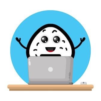 Logo de personnage mignon pour ordinateur portable boule de riz