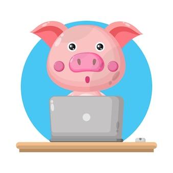 Logo de personnage mignon pour ordinateur portable cochon