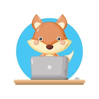 Logo de personnage mignon pour ordinateur portable fox