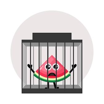Logo de personnage mignon de prison de pastèque