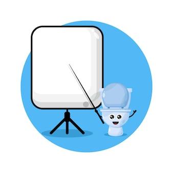 Logo de personnage mignon professeur de toilette