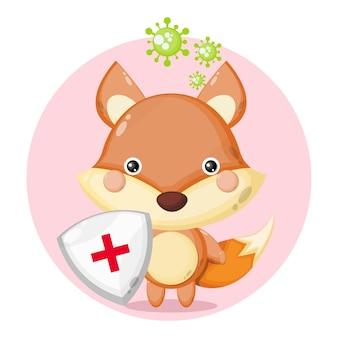 Logo de personnage mignon de protection contre les virus fox