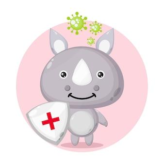 Logo de personnage mignon de protection contre les virus rhinocéros