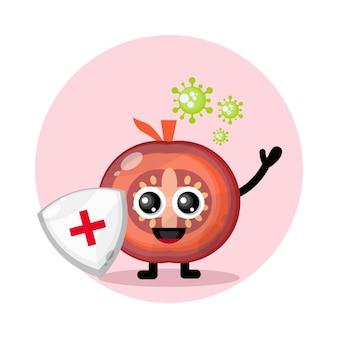 Logo de personnage mignon de protection contre le virus de la tomate