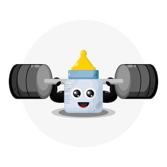 Logo de personnage mignon de remise en forme de tétine bébé