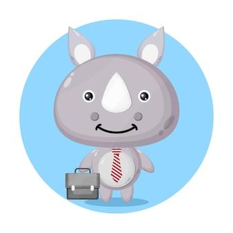 Logo de personnage mignon de rhinocéros
