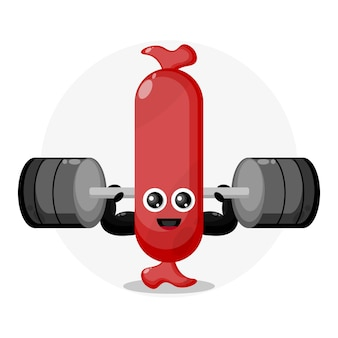 Logo de personnage mignon de saucisse de remise en forme