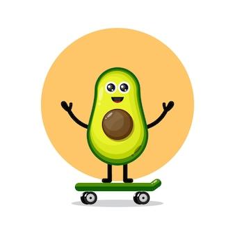Logo de personnage mignon skateboard avocat