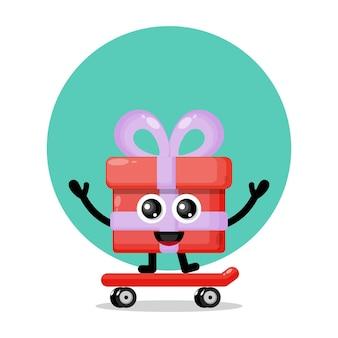 Logo de personnage mignon skateboard cadeau