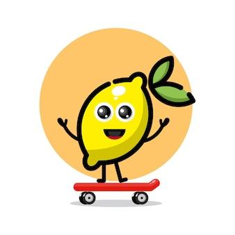 Logo de personnage mignon skateboard citron
