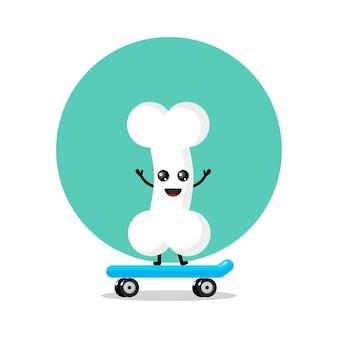 Logo de personnage mignon de skateboarding bones