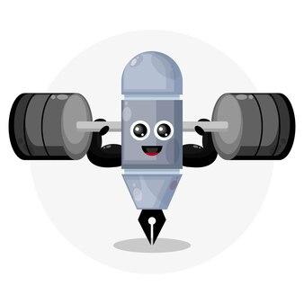 Logo de personnage mignon stylo fitness