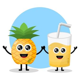 Logo de personnage mignon en verre de jus d'ananas