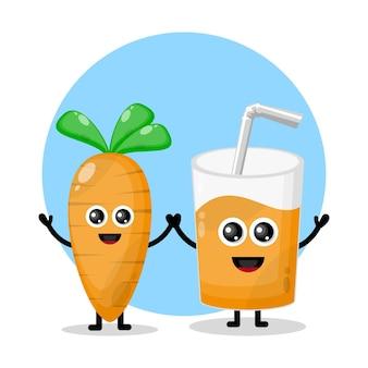 Logo de personnage mignon en verre de jus de carotte