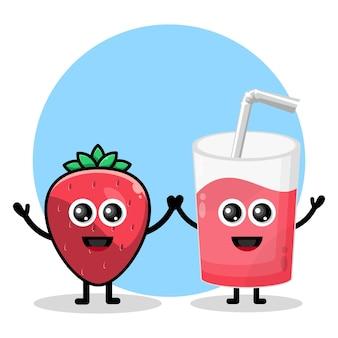 Logo de personnage mignon en verre de jus de fraise