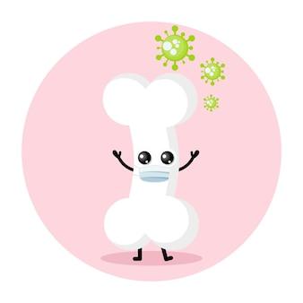 Logo de personnage mignon de virus de masque d'os