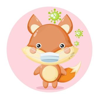 Logo de personnage mignon de virus de masque de renard