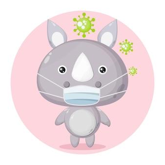 Logo de personnage mignon de virus de masque de rhinocéros