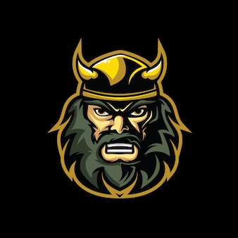 Logo de personnage de tête de viking