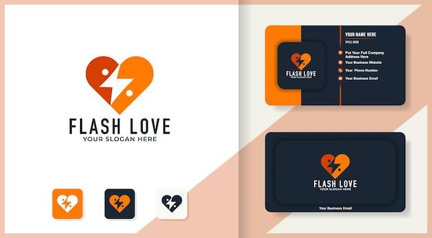 Logo de personnes abstraites dans l'amour du tonnerre et la conception de cartes de visite