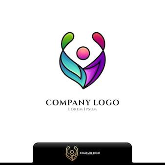 Logo de personnes abstraites isolé sur blanc