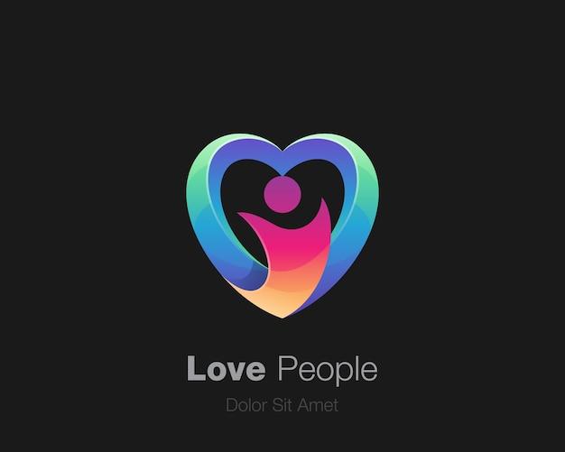 Logo de personnes amour coloré