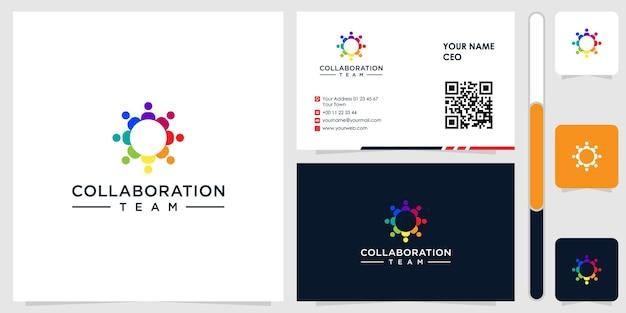 Logo de personnes avec carte de visite design vecteur premium