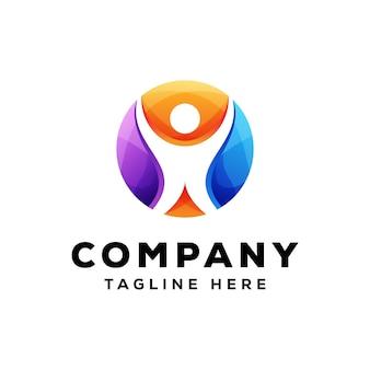 Logo de personnes colorées, logo humain