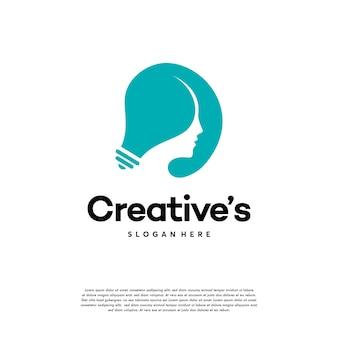 Logo de personnes créatives avec vecteur de concept d'ampoule, idée de vecteur de logo lampe ampoule tête humaine