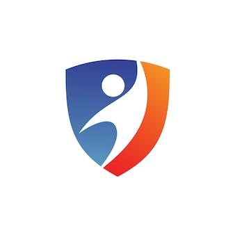Logo personnes dans le bouclier