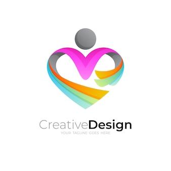 Logo de personnes et icône d'amour coloré, modèle de logo de charité