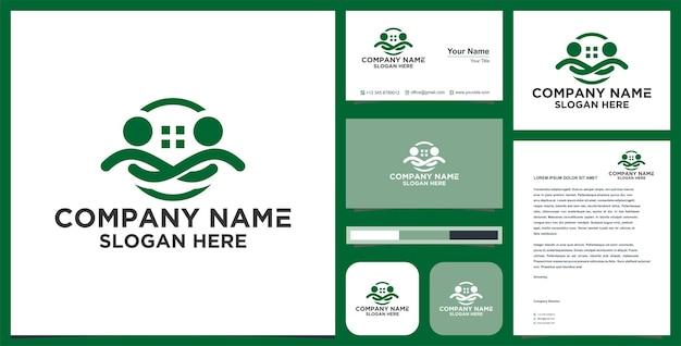 Logo personnes avec immobilier et carte de visite