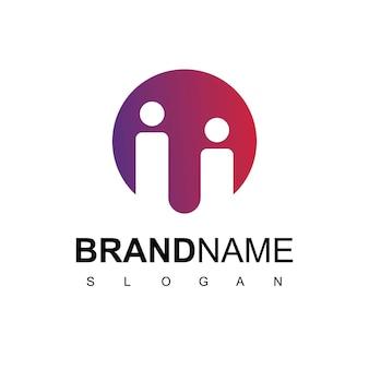 Logo de personnes société famille et symbole de travail d'équipe