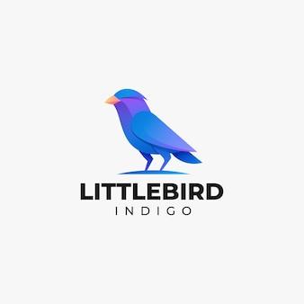 Logo petit oiseau dégradé style coloré