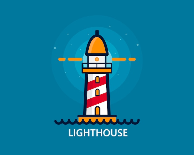 Logo phare sur bleu