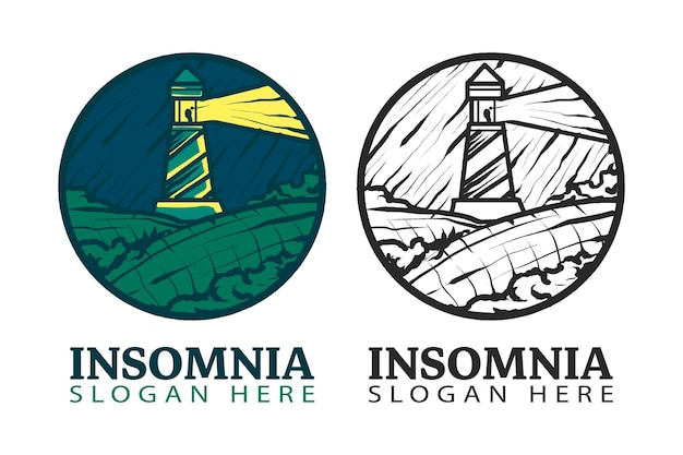 Logo de phare vintage dans l'illustration vectorielle isolée du symbole du cercle, adapté aux entreprises et aux produits montrant une impression ancienne, ancienne, point de repère