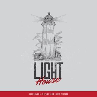 Logo de phare vintage dessinés à la main