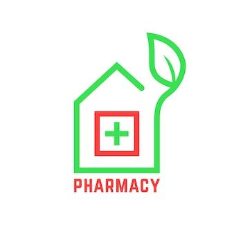 Logo de pharmacie avec contour de maison. concept de médecin, collection d'herbes, premiers soins, bien-être, soins infirmiers, polyclinique, cure nationale. conception d'art graphique de marque moderne tendance style plat sur fond blanc