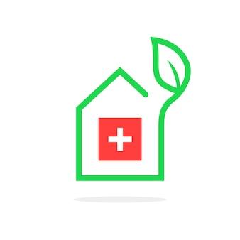 Logo de pharmacie simple comme contour house. concept de médecin, collection d'herbes, premiers soins, bien-être, soins infirmiers, polyclinique, cure nationale. design graphique de marque moderne tendance style plat sur fond blanc
